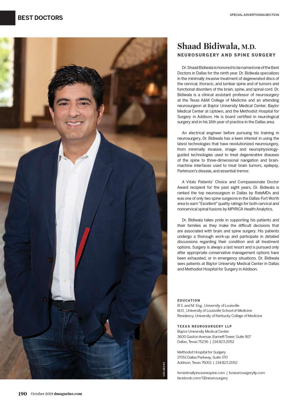 Shaad Bidiwala M D Neurosurgery Dallas D Magazine Directories