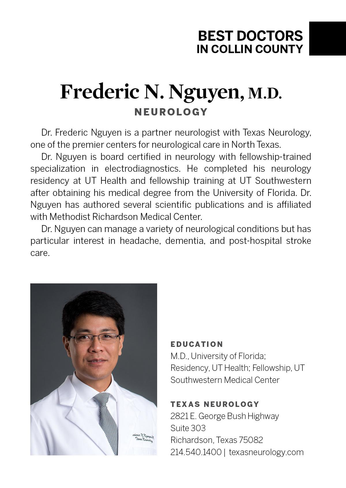 Frederic N  Nguyen, M D  - Neurology - Dallas | D Magazine