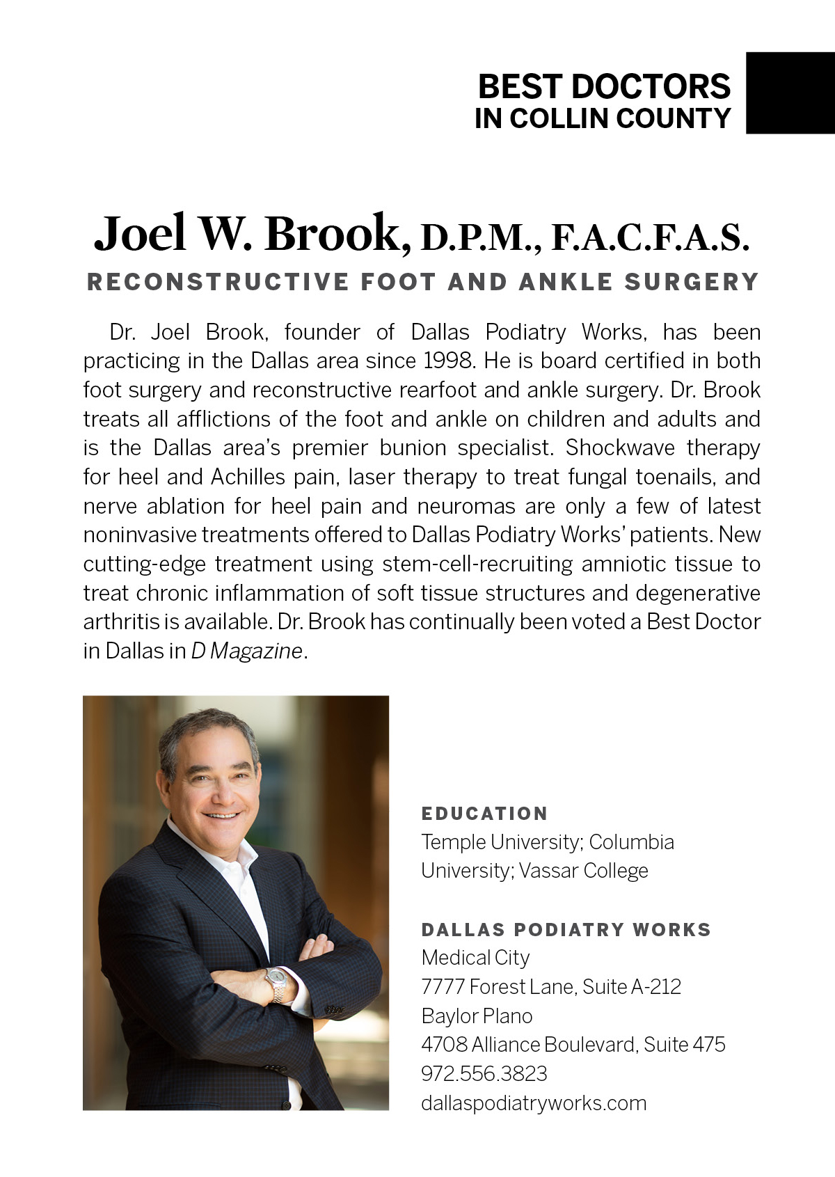 Joel Brook, D P M , M S , FACFAS - Podiatry - Dallas | D